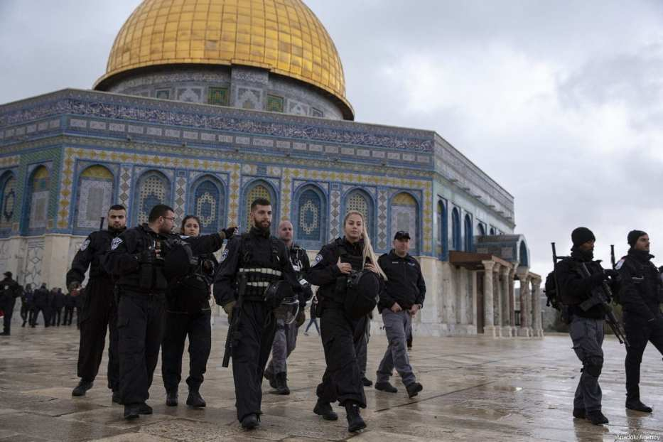 Israeli police officers are seen in front of Al-Aqsa Mosque in Jerusalem on 14 January 2019 [Mostafa Alkharouf/Anadolu Agency]