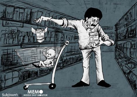Buying products from illegal Israeli settlements [Cartoon [Sabaaneh/MiddleEastMonitor]