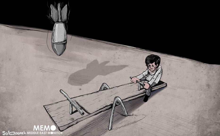 Israeli forces targeting Palestinian children - Cartoon [Sabaaneh/MiddleEastMonitor]