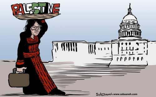 Rashida Tlaib, the first Palestinian US congresswoman - Cartoon [Sabaaneh/MiddleEastMonitor]