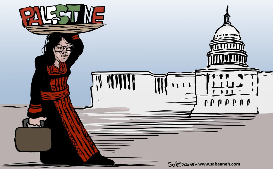 Rashida Tlaib, the first Palestinian US congresswoman - Cartoon [Sabaaneh/MiddleEastMonitor]