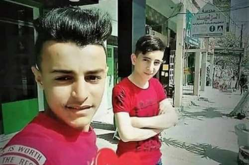 Two Gazan boys, 15-year-old Amir al-Nimra and 16-year-old Louay Kuhail, died in an Israeli air attack in Gaza, Palestine on July 14, 2018 [Qudns/Twitter]