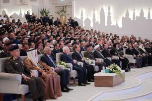 Palestinian President Mahmoud Abbas (L4) and with Egyptian President Abdel Fattah al-Sisi (L5) attend the formal opening of al-Fattah al-Aleem Mosque and The Cathedral of the Nativity, in Cairo, Egypt on January 07, 2019. ( Palestinian Presidency / Handout - Anadolu Agency )