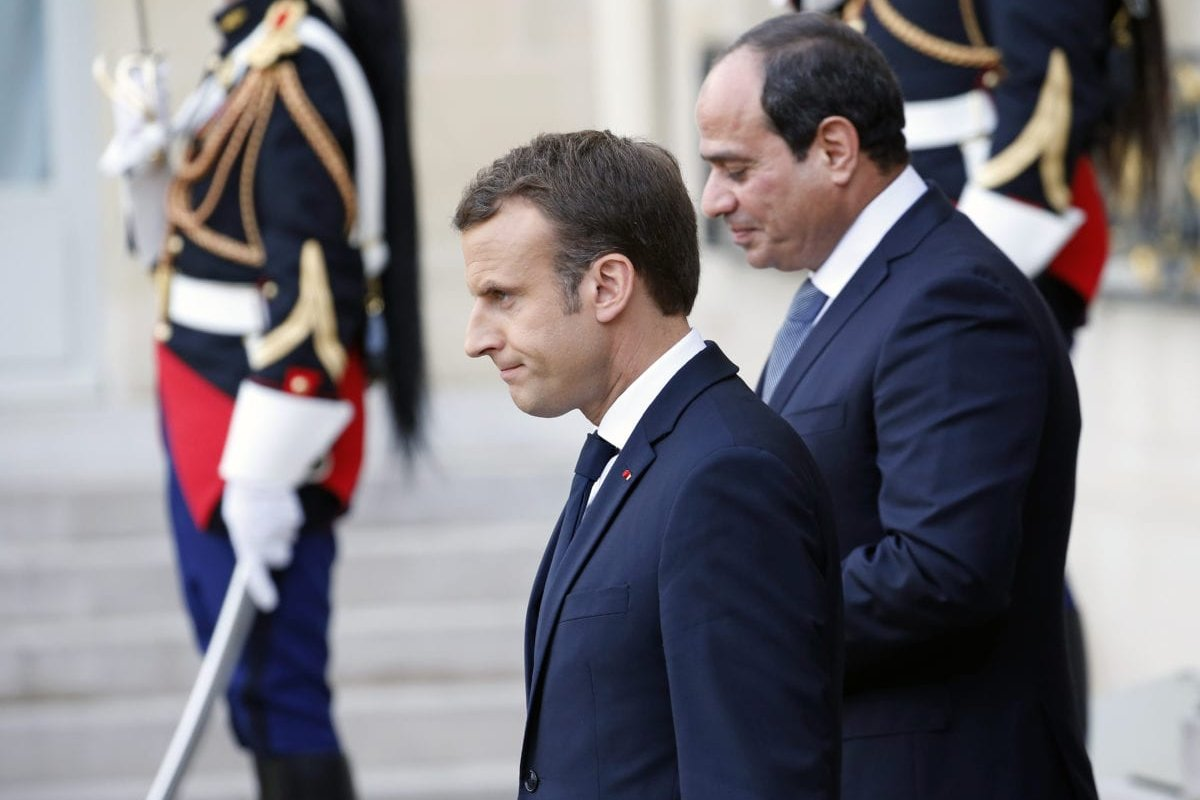 French President Emmanuel Macron and Egyptian President Abdel Fattah Al-Sisi in Paris, France on 24 October 2018 [Chesnot/Getty Images)