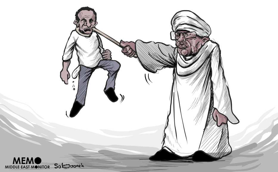 Protests in Sudan - Cartoon [Sabaaneh/MiddleEastMonitor]