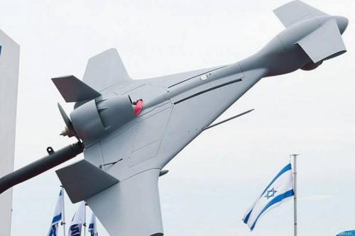 "A model of the SkyStriker drone by Israel's Elbit Systems, dubbed ""the suicide drone"" [Facebook]"