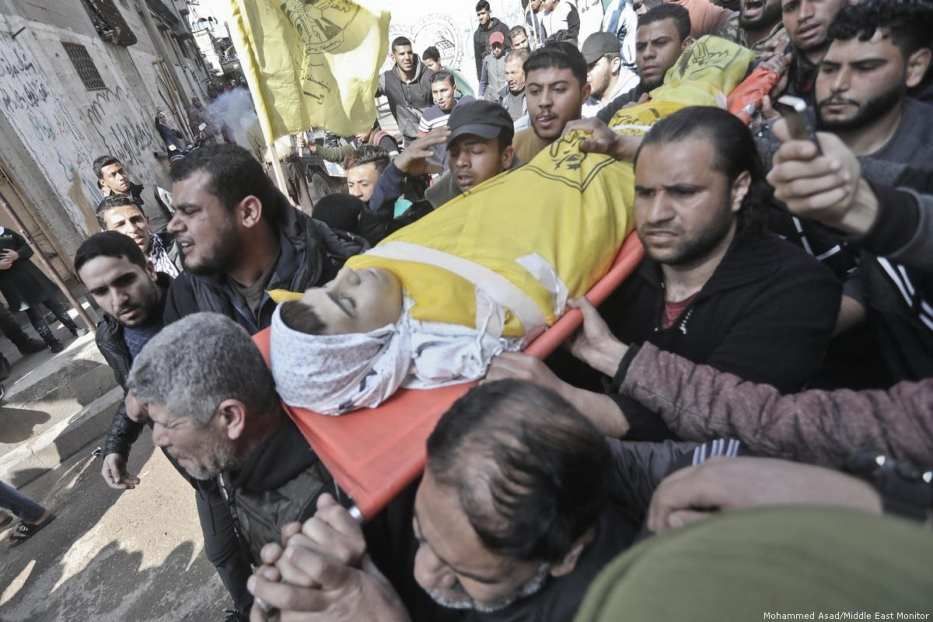 Yusuf Said Hussein al-Dayeh, 15, succumbed to his wounds after being shot in the chest by Israeli troops in Gaza [Mohammed Asad/Middle East Monitor]