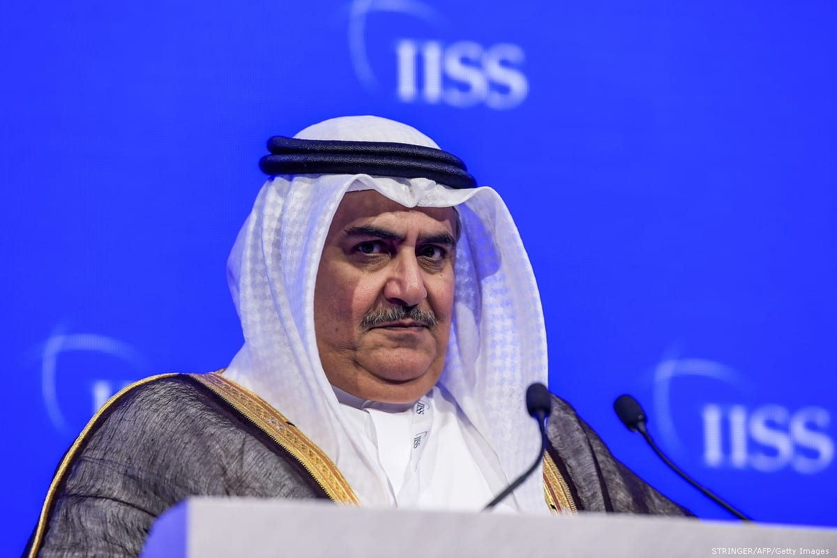 Bahrain's Foreign Minister Sheikh Khalid bin Ahmed Al-Khalifa in Manama, Bahrain on 27 October 2018 [STRINGER/AFP/Getty Images]