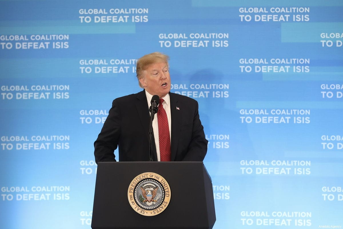 US President Donald Trump makes a speech during the meeting of the Ministers of the Global Coalition to Defeat Daesh, at the State Department in Washington, United States on 6 February 2019 [Mustafa Kamacı / Anadolu Agency]