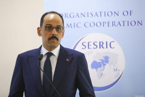 Turkish Presidential spokesman Ibrahim Kalin makes a speech as he attends the panel held by Statistical, Economic and Social Research and Education Center for Islamic Countries (SESRIC) in Ankara, Turkey on 8 February 2019. [Mustafa Kamacı - Anadolu Agency]