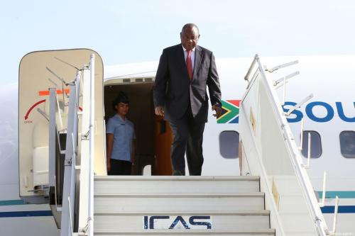 South African President Matamela Cyril Ramaphosa arrives at the Addis Ababa Bole International Airport to attend the 32nd African Union Leaders' Summit in Addis Ababa, Ethiopia on February 9, 2019 [Minasse Wondimu Hailu / Anadolu Agency]