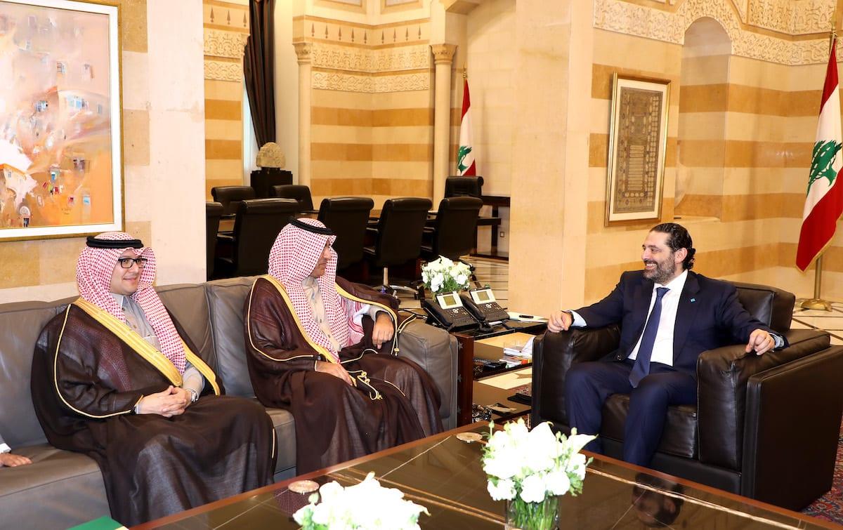 Prime Minister of Lebanon, Saad Hariri (R) meets Saudi King's envoy Nizar bin Suleiman al-Aloula (C) in Beirut, Lebanon on 13 February 2019. [LEBANESE PRIME MINISTRY OFFICE / HANDOUT - Anadolu Agency]