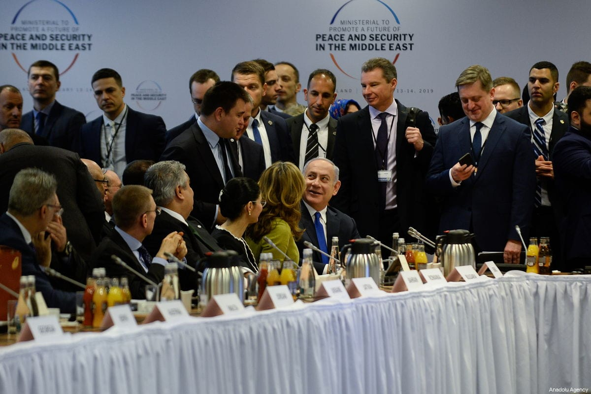 """Israeli Prime Minister Benjamin Netanyahu during the opening of the plenary session at the"""" Ministerial to Promote a Future of Peace and Security in the Middle East"""" co hosted by US and Poland in the National Stadium in Warsaw, Poland on 14 February, 2019 [Omar Marques/Anadolu Agency]"""