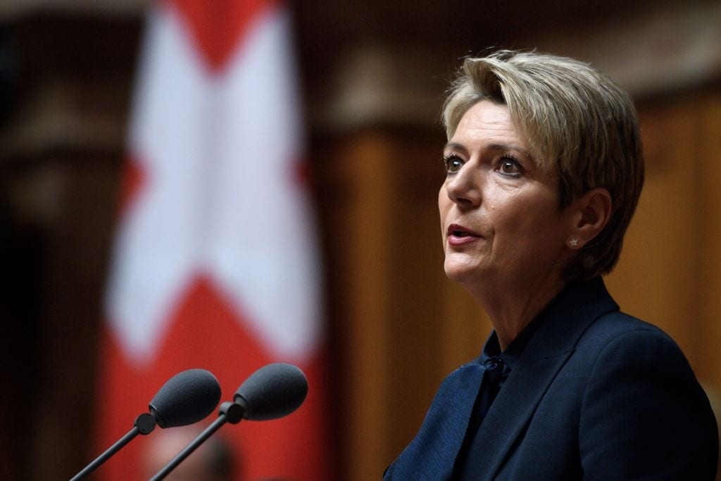 Swiss Federal Councillor Karin Keller-Sutter delivers her speech during an election meeting of the Federal assembly on 5 December 2018, at the House of Parliament in Bern. [FABRICE COFFRINI/AFP/Getty Images]