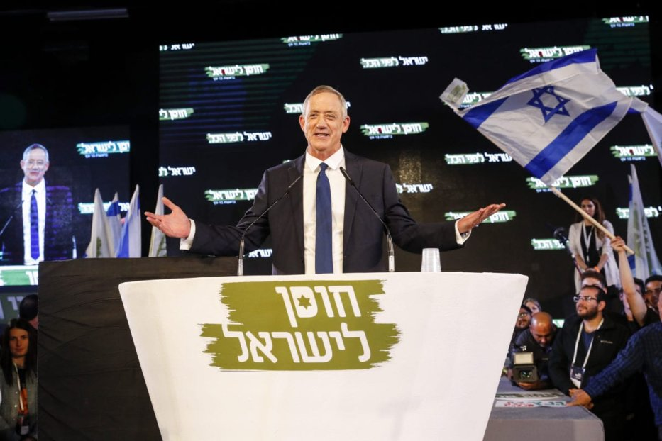 Former Israeli chief of staff Benny Gantz (C) delivers his first electoral speech in the Israeli coastal city of Tel Aviv on 29 January 2019. [JACK GUEZ/AFP/Getty Images]
