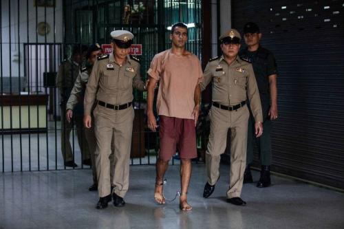 The departure of Hakeem al-Araibi, a refugee footballer, from Bangkok's Criminal Court on 4 February 2019 in Bangkok, Thailand. [Lauren DeCicca/Getty Images]
