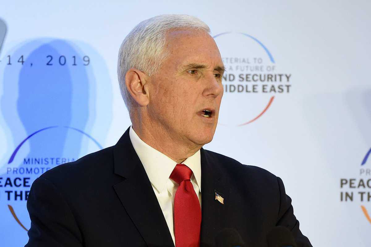 US Vice President Mike Pence gives a speech during the conference on Peace and Security in the Middle east in Warsaw, on February 14, 2019. (JANEK SKARZYNSKI/AFP/Getty Images)