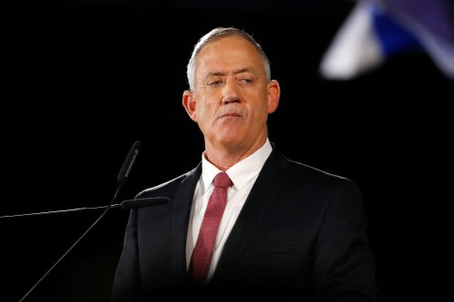 Benny Gantz, former Israeli military chief of staff, and presidential candidate, speaks during an electoral campaign gathering on 19 February 2019, in Tel Aviv [JACK GUEZ/AFP/Getty Images]