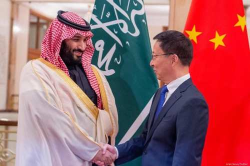 Saudi Crown Prince meets in Beijing with Vice-Premier of China on 22 February 2019 [Arab News/Twitter]