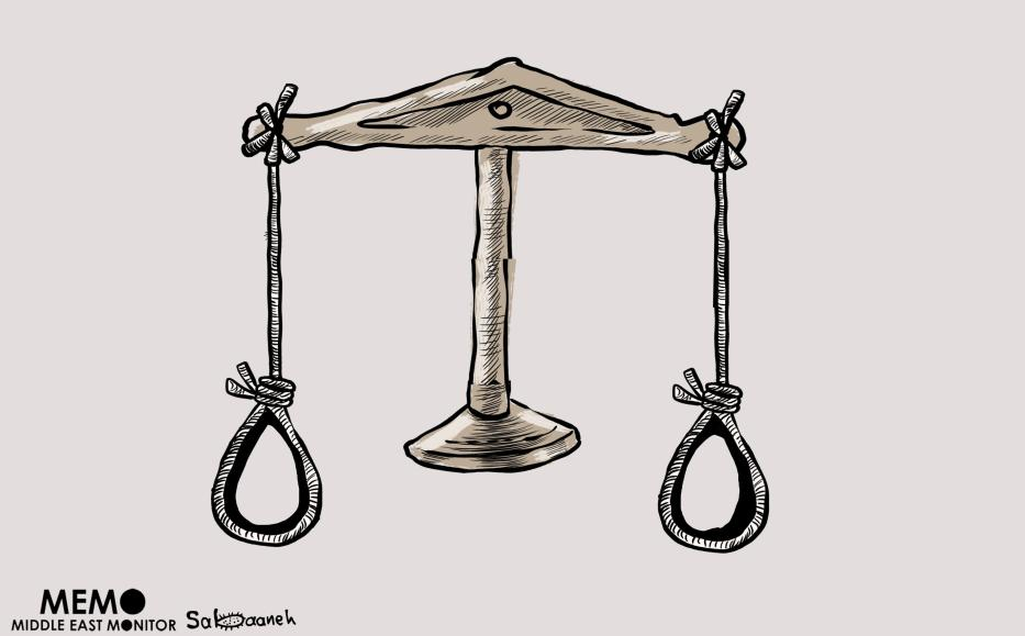 Egypt continues to executes young men despite international condemnation from rights groups over the death sentences Cartoon [Mohammad Sabaaneh/Middle East Monitor]