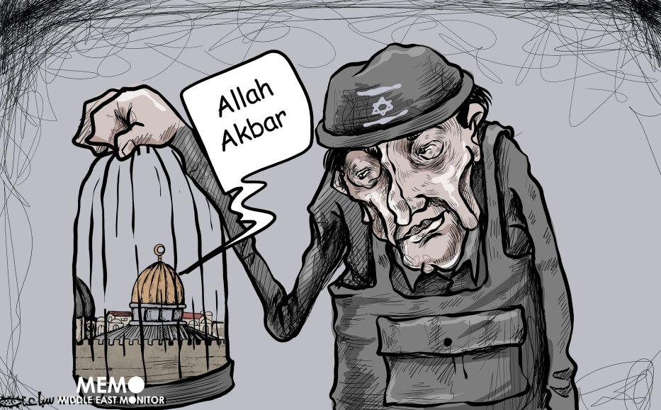 Israel aggressions on Al-Aqsa - Cartoon [Mohammad Sabaaneh/Middle East Monitor]