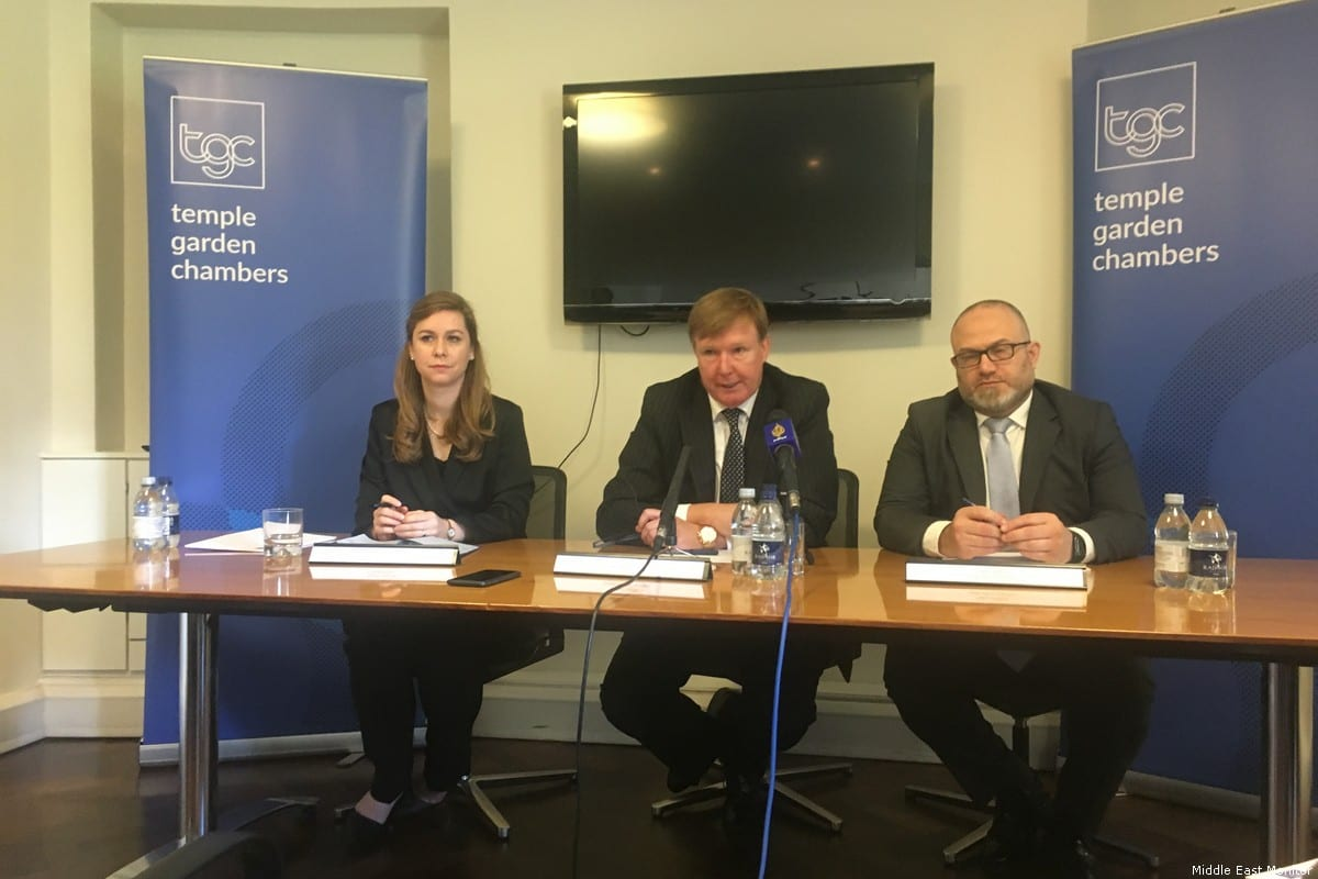 Haydee Dukstal, Rodney Dixon QC and Hakan Camuz speak at a press conference in London - 7 March 2018 [Middle East Monitor]