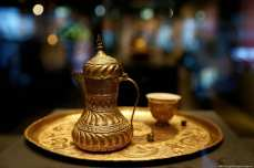 "Tombac coffee-cup-set is displayed at Tombac: ""Elegance with a Touch of Gold"" exhibition in Istanbul on 5 March 2019 [Veli Gürgah - Anadolu Agency]"