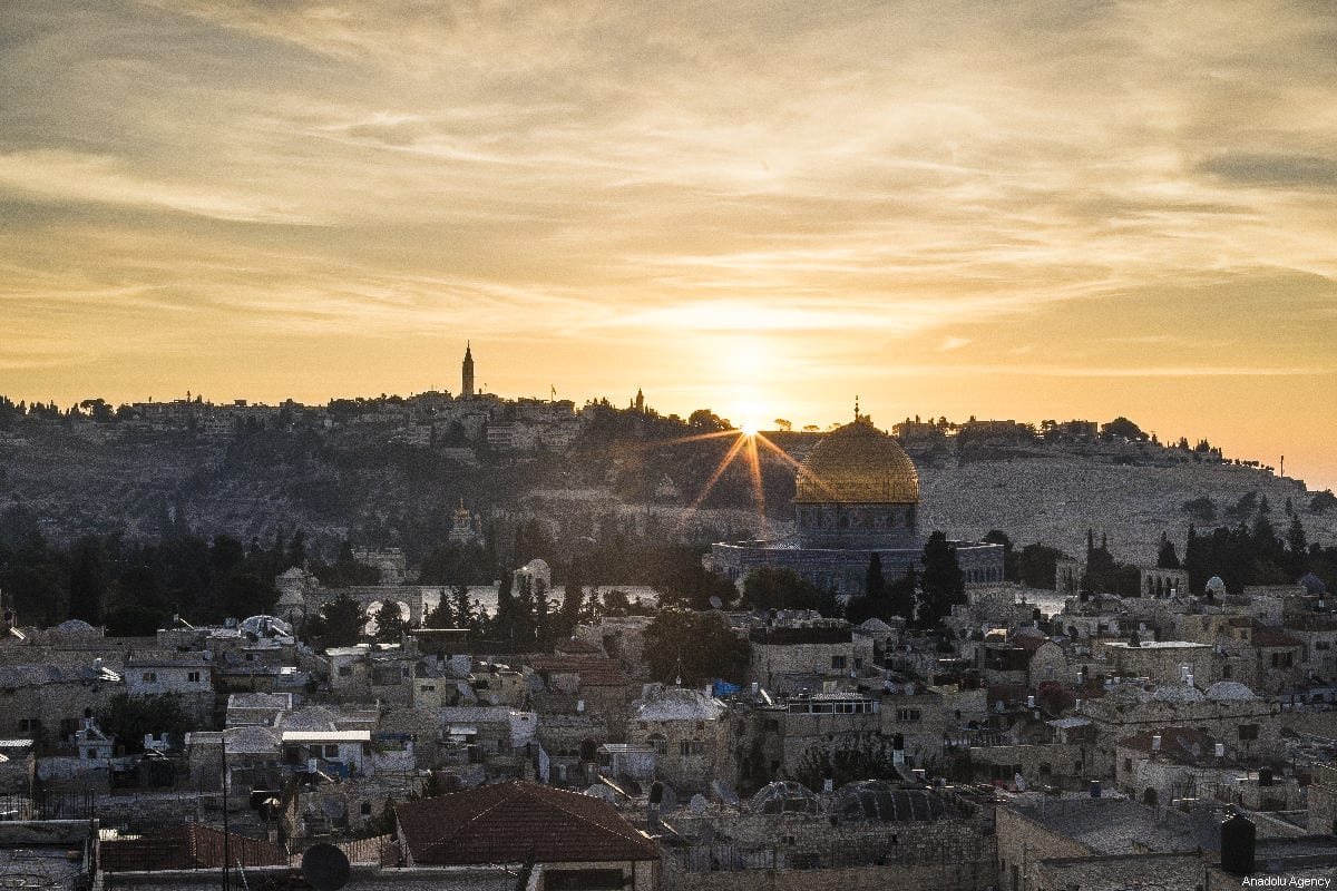 Qubbat al-Sakhrah (Dome of the Rock) in the Al-Aqsa Mosque Compound seen during a sunrise in Jerusalem on October 05, 2018 [Mostafa Alkharouf / Anadolu Agency]
