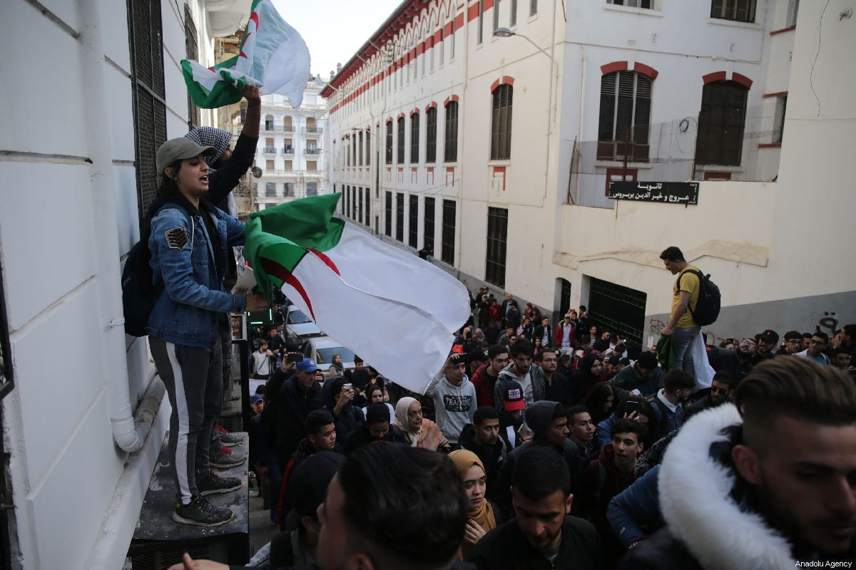 Algerians students gather to protest against the fifth term of Abdelaziz Bouteflika at the University of Algiers in Algiers, Algeria, on 26 February 2019 [Farouk Batiche / Anadolu Agency]