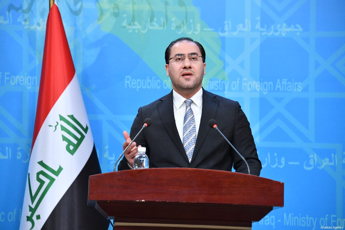 Iraqi Ministry of Foreign Affairs Spokesman, Ahmed Al-sahaf speaks during a press conference at the Foreign Ministry in Baghdad, Iraq on 27 February 2019. [Haydar Karaalp - Anadolu Agency]