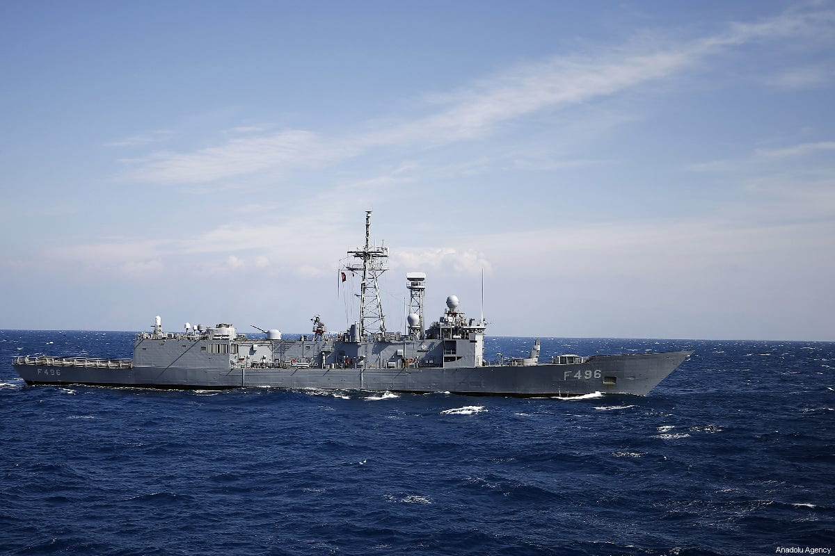 A Turkish Navy ship in Antalya, Turkey on 27 February 2019 [Mustafa Çiftçi/Anadolu Agency]