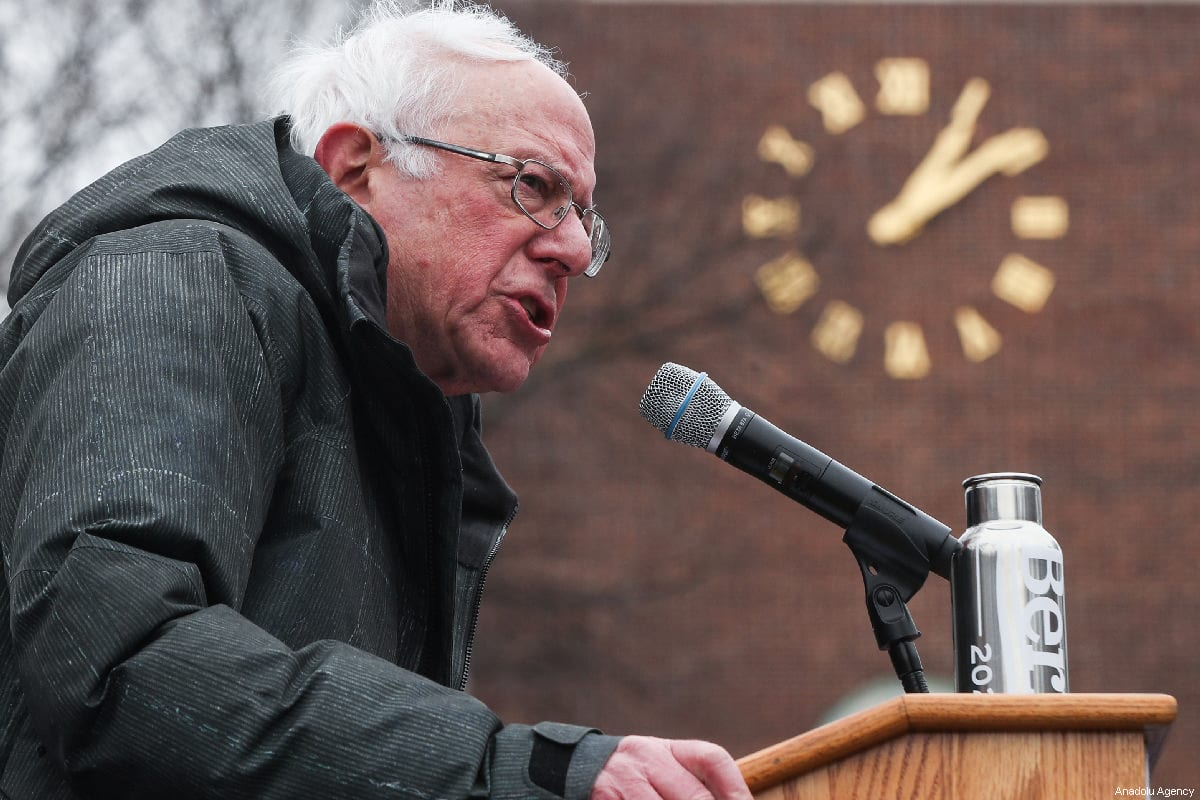 Vermont Senator Bernie Sanders delivers a speech during his first presidential campaign rally at Brooklyn College in New York, United States, March 2, 2019. [Atılgan Özdil/Anadolu Agency]