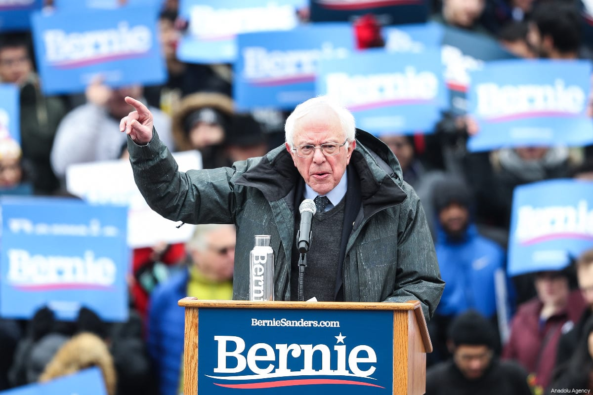 Vermont Senator Bernie Sanders delivers a speech during his first presidential campaign rally at Brooklyn College in New York, United States, March 2, 2019.  [Atılgan Özdil - Anadolu Agency]