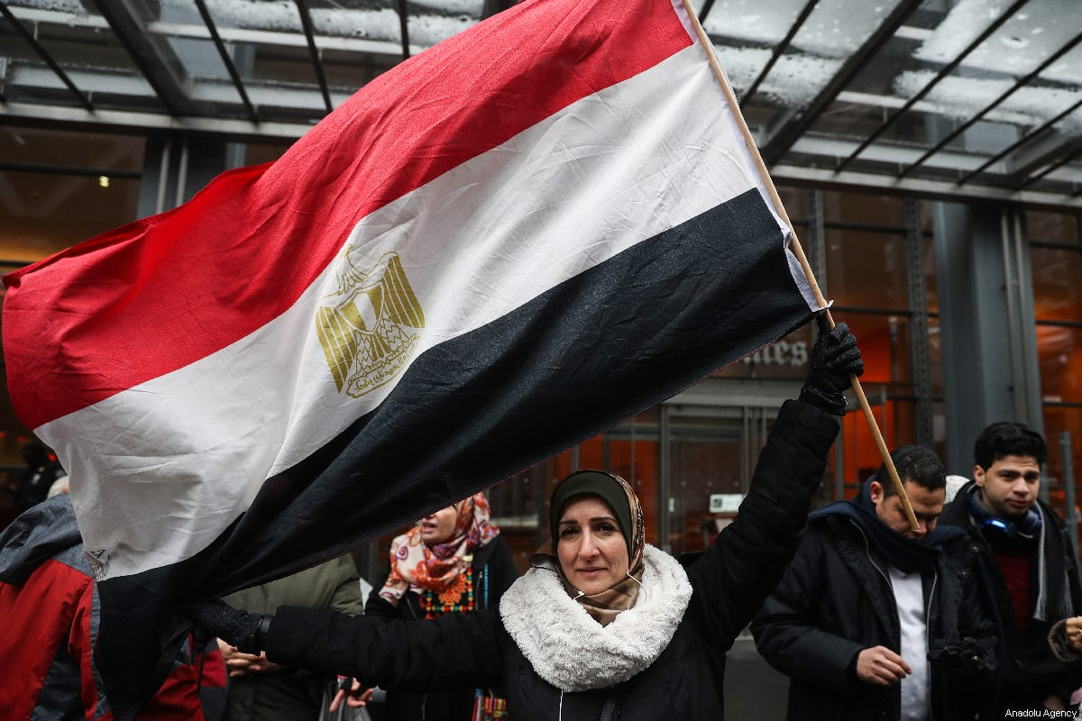 A group of people gather to stage a protest against executions in Egypt, in front of the New York Times Building, in New York, United States, on March 02, 2019 [Atılgan Özdil / Anadolu Agency]