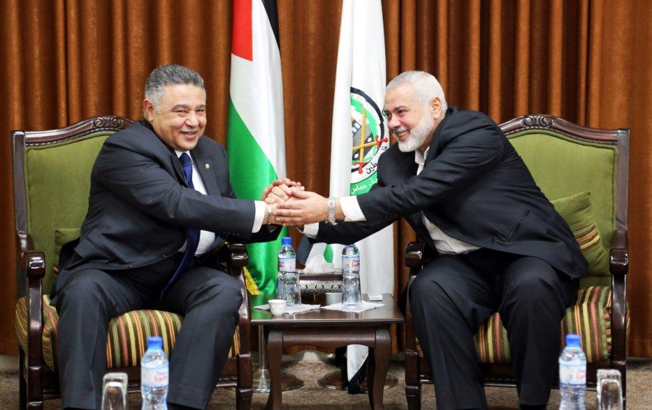 Head of the Political Bureau of Hamas, Ismail Haniyeh (R) meets Head of Palestinian File of Egypt's Intelligent Service Major General Ahmed Abdel Khalek (L) in Gaza City, Gaza on 5 March 2019. [Ismail Haniyeh's Press Office / Handout - Anadolu Agency]