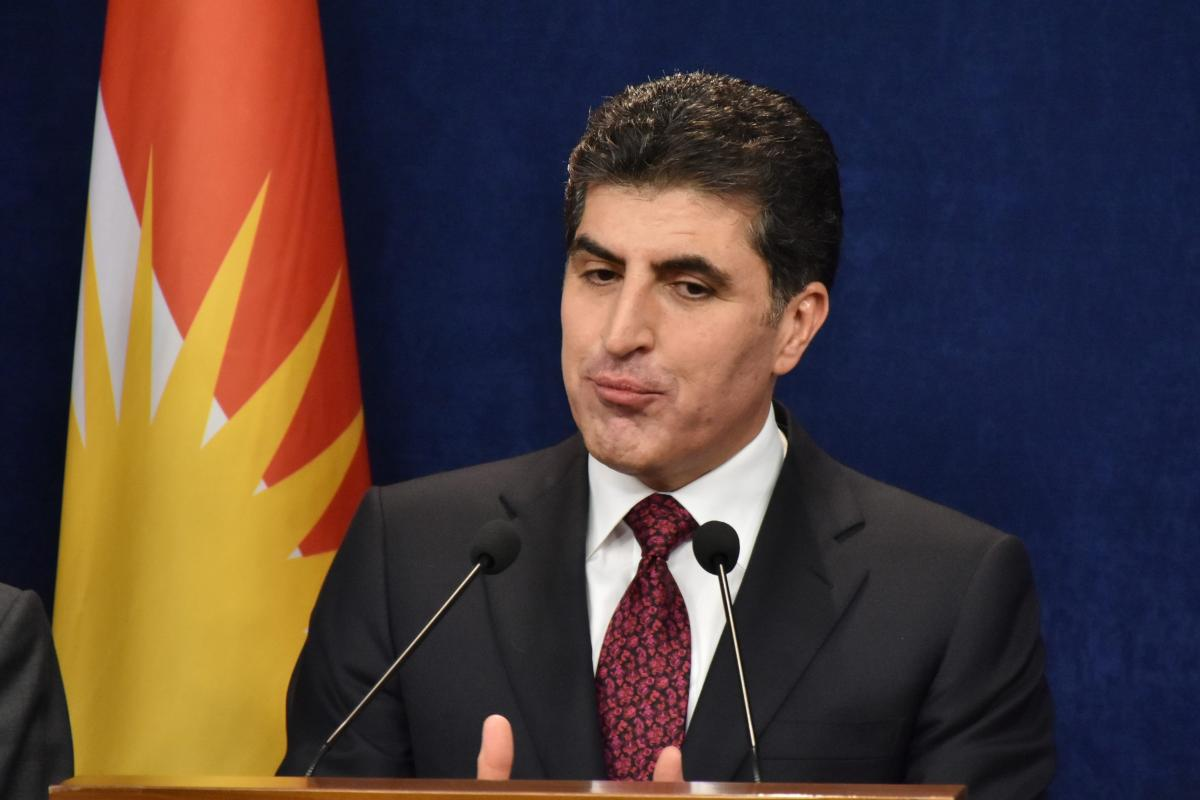 Prime Minister of Iraqi Kurdish Regional Government (KRG) Nechirvan Barzani speaks during a press conference following a cabinet meeting in Erbil, Iraq on 8 March, 2019 [Ahsan Mohammed Ahmed Ahmed/Anadolu Agency]