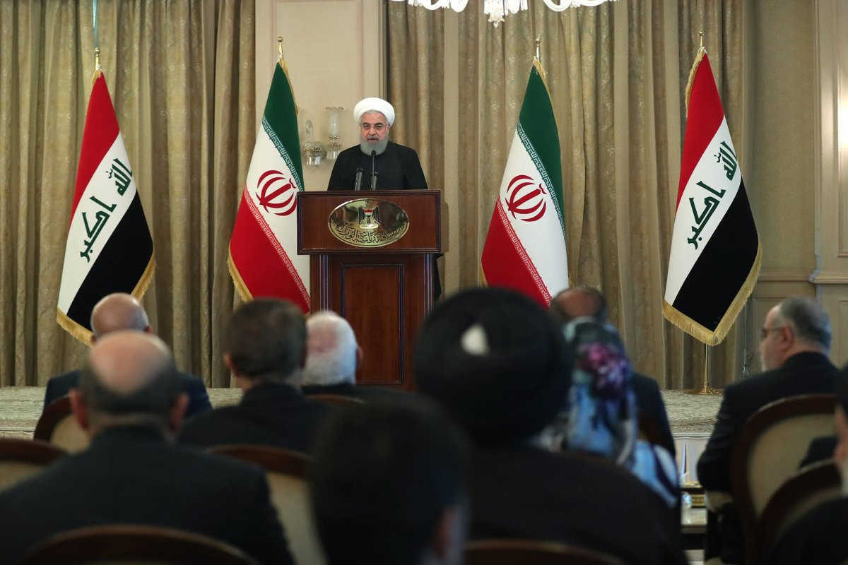 Iranian President Hassan Rouhani makes a speech during his meeting with leaders of tribes and a group of Iraqi religious functionaries in Baghdad, Iraq on 12 March, 2019 [Iranian Presidency - Handout/Anadolu Agency]