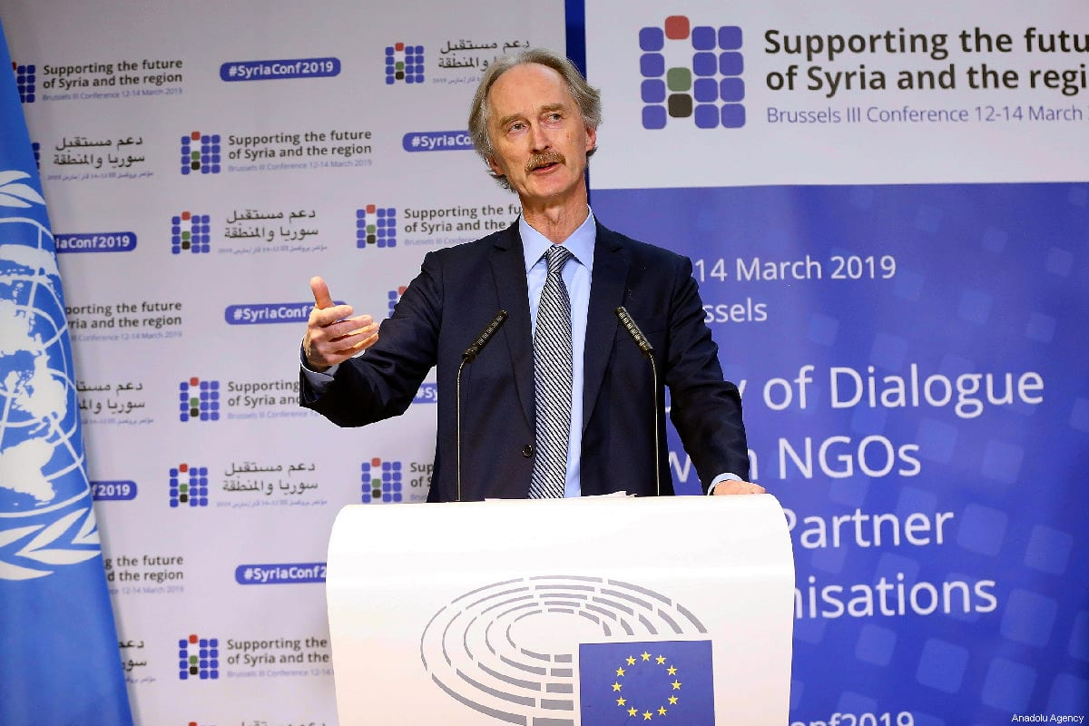 Geir Pedersen, Special Envoy for Syria of the UN and High Representative of the European Union for Foreign Affairs and Security Policy in Brussels, Belgium on 13 March 2019 [Dursun Aydemir/Anadolu Agency]