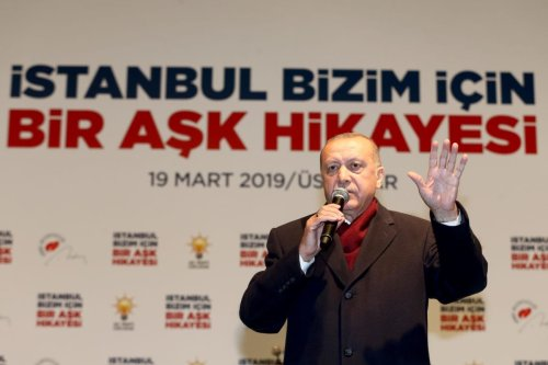 President of Turkey and the leader of Turkey's ruling Justice and Development (AK) Party Recep Tayyip Erdogan addresses the crowd during a campaign rally ahead of March 31 local elections, in Uskudar district of Istanbul, Turkey on 19 March 2019. [Onur Çoban - Anadolu Agency]