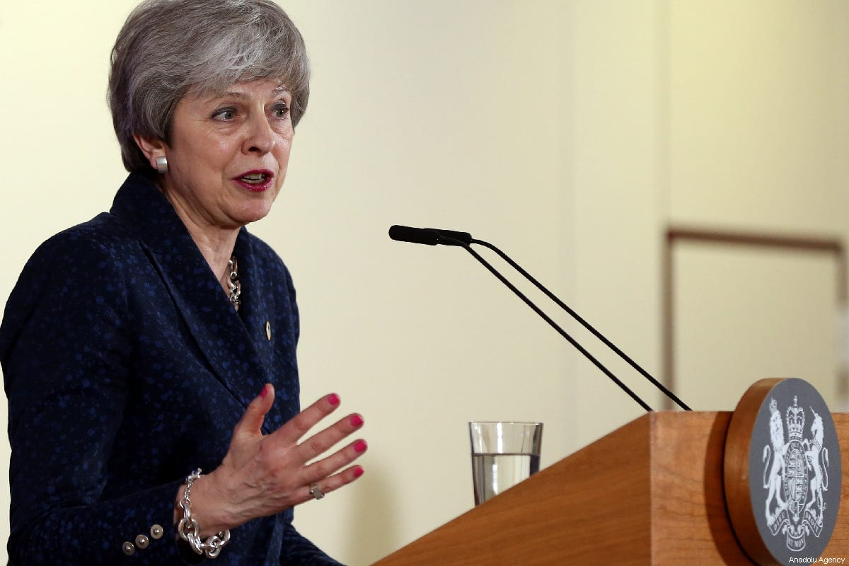 Former British Prime Minister Theresa May in Brussels on 22 March 2019 [Dursun Aydemir/Anadolu Agency]
