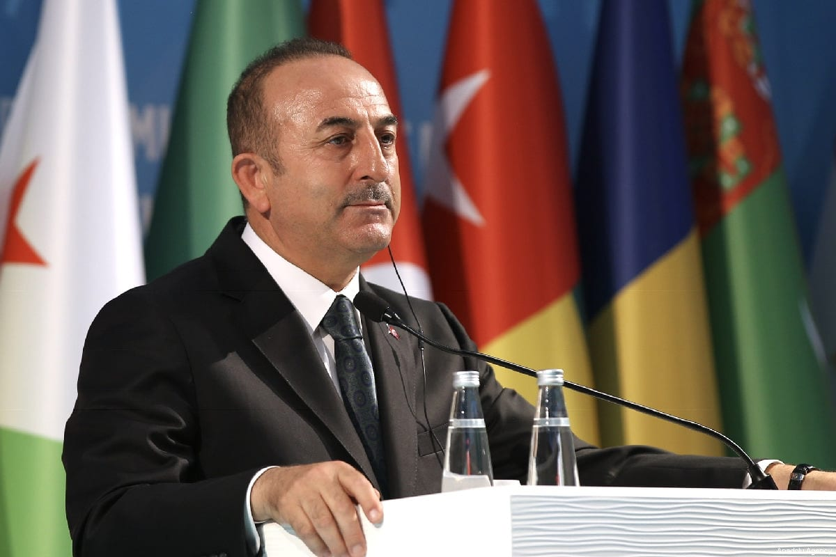 "Turkish Foreign Minister Mevlut Cavusoglu and OIC Secretary-General Yousef bin Ahmad Al-Othaimeen (not seen) hold a joint press conference after ""Organization of Islamic Cooperation (OIC) Emergency Open-Ended Executive Committee Meeting at the Level of Foreign Ministers on the Terrorist Attack Against Two Mosques in New Zealand and on Countering Hatred and Intolerance against Muslims"" in Istanbul, Turkey on 22 March 2019 [Fatih Aktaş/Anadolu Agency]"