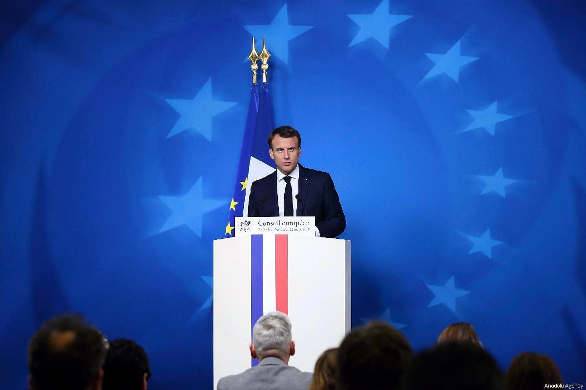 French President Emmanuel Macron makes a speech during a press conference within the EU Leaders Summit in Brussels, Belgium on March 22, 2019 [Dursun Aydemir / Anadolu Agency]
