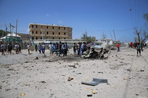 Explosion site is seen after a terror attack carried out by Al-Qaeda-affiliated terrorist group al-Shabaab in Mogadishu on March 23, 2019 [Sadak Mohamed / Anadolu Agency]