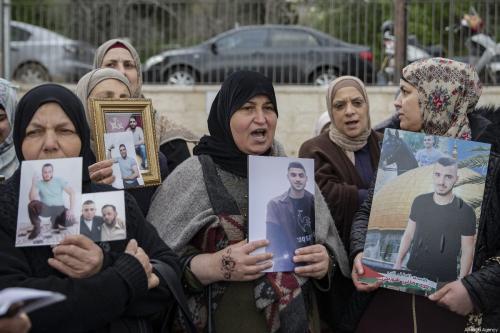 Palestinians demanding the release of Palestinian prisoners held in Israeli jails, stage a demonstration in Sheikh Jarrah neighborhood of Eastern Jerusalem on March 26, 2019. [Faiz Abu Rmeleh/Anadolu Agency]