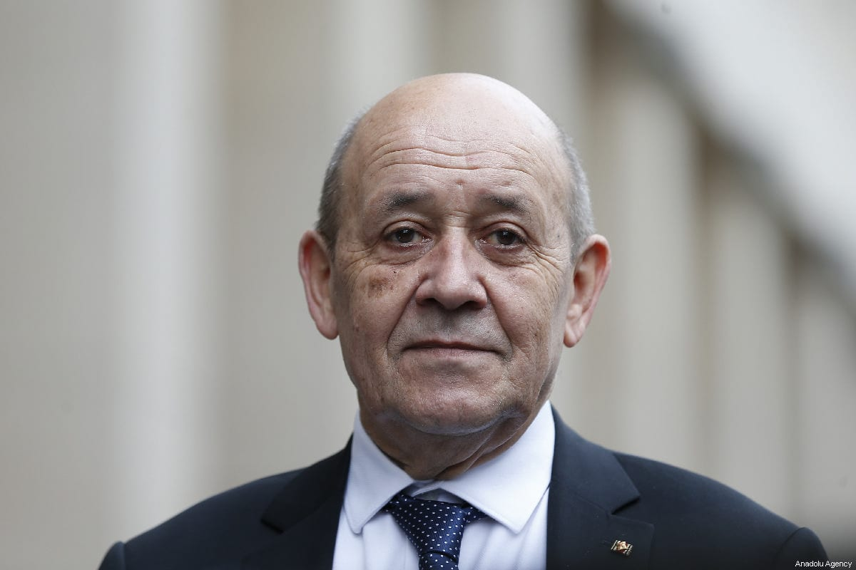 French Foreign Affairs Minister Jean-Yves Le Drian is seen during joint press conference with German Foreign Minister Heiko Maas (not seen) after their meeting in Berlin, Germany on 27 March 2019. [Abdülhamid Hoşbaş - Anadolu Agency]