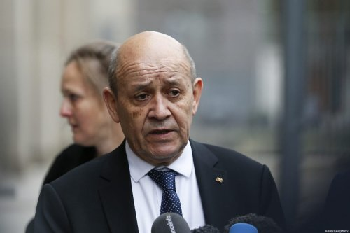 French Foreign Affairs Minister Jean-Yves Le Drian is seen during joint press conference with German Foreign Minister Heiko Maas (not seen) after their meeting in Berlin, Germany on March 27, 2019 [Abdülhamid Hoşbaş / Anadolu Agency]