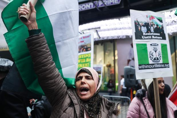 People gather at Times Square during a rally in support of Palestinians and honouring Palestinian demonstrators who lost their lives in the 'Great March of Return' demonstrations in Gaza, on March 29, 2019 in New York, United States [Atılgan Özdil / Anadolu Agency]