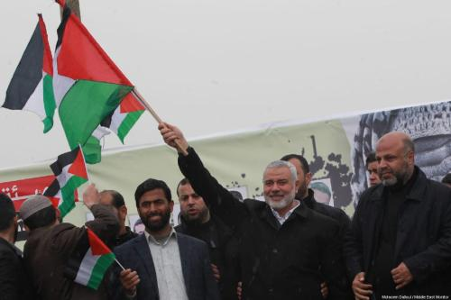 "Ismail Haniyeh, senior political leader of Hamas, attends a rally at the anniversary march of the ""Great March of Return"" and ""Palestinian Land Day"" protests at Israel-Gaza border on March 30, 2019 [Motasem Dalloul / Middle East Monitor]"
