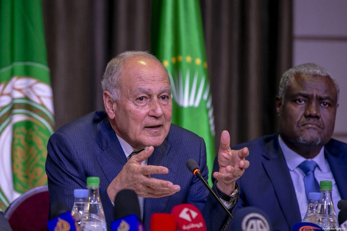 Arab League Secretary-General Ahmed Aboul Gheit in Tunis, Tunisia on March 30, 2019. [Yassine Gaidi - Anadolu Agency]