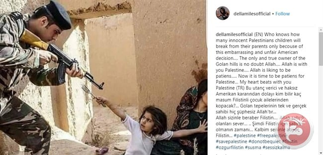 Instagram post by American singer Della Miles on Palestine [Maan News]